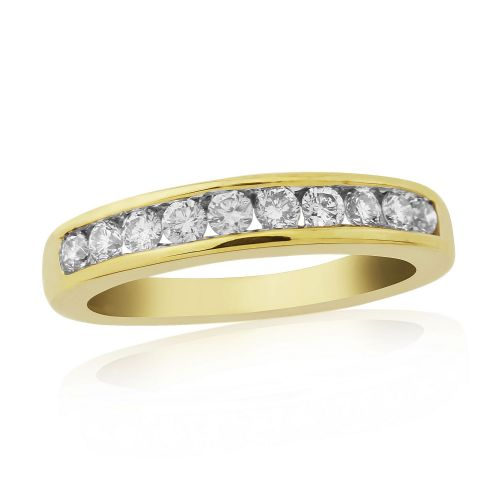 Yellow Gold Diamond Eternity Ring Channel Set 50 Points